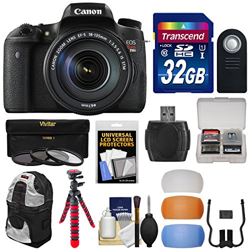 Canon EOS Rebel T6s Wi-Fi Digital SLR Camera  &  EF-S 18-135mm IS STM Lens with 32GB Card + Backpack Case + Tripod + Filter + Diffusers + Kit