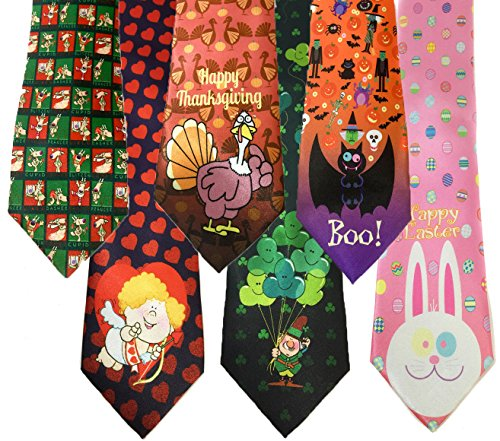Stonehouse Collection Men's Assorted Holiday Ties - 6 Funny Neckties - Tie Assortment (Fun Ties compare prices)
