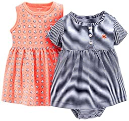 Carter\'s Baby Girls\' 2 Piece Dress and Bodysuit Set (Baby) - Coral - 6 Months