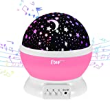 [Update]Esonstyle Musical Night Light,360 Rotating Star Lamp Baby Musical Lamp with Rechargeable Battery,12 Songs to Relax for Sleep Kids Babies Birthday Children Day Christmas Gift (Color: pink)