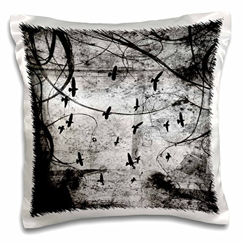 ToryAnne Collections Art - Black birds flying in black and white abyss - 16x16 inch Pillow Case (pc_163988_1)