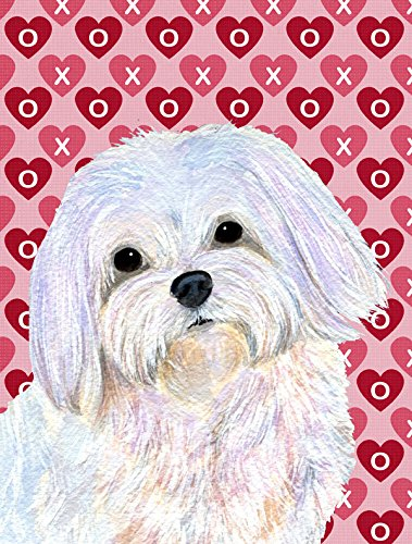 Maltese Hearts Love And Valentine'S Day Portrait Flag Garden Size From Caroline'S Treasures front-98471