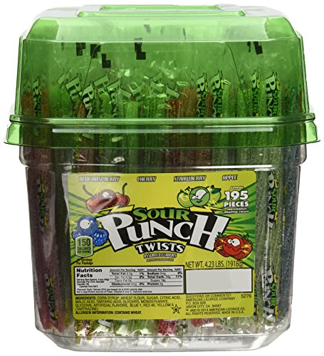 Wrapped Sour Punch Candy Straw Twists 4 Flavors - 195 Ct. Tub,4.23LBS (1918g ) (Sour Punch Straws Tub compare prices)
