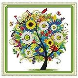 Anself DIY手作り刺繍 クロスステッチ 刺繍キット 14CTカラフルな木のパターン 38 * 38cm家の装飾