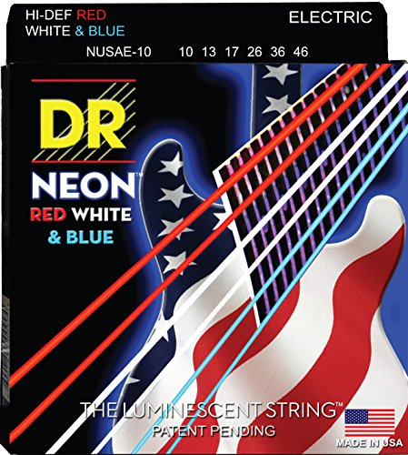 Dr Strings Nusae-10 Coated Nickel Electric Guitar Strings, Medium, 10-46, Neon Red/White/Blue