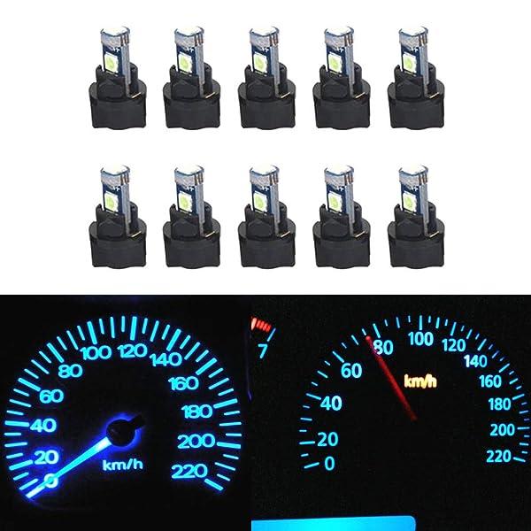 10*74 T5 LED Twist Socket Blue Instrument Panel Cluster Plug Dash Light Bulbs