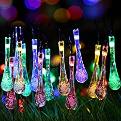 Dolamen Solar Outdoor String Fairy Lights, 20ft 30 LEDs Water Drop Shape, IP65 Waterproof Solar String Fairy Lights for Gardens, Patio, Yard, Homes, Christmas and all other festivals.