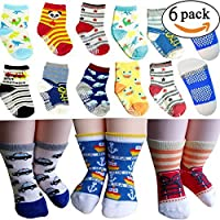 BS® 6 Pairs 12-36 months Unisex Baby Boy Toddler Non-Skid Slip Cozy Soft Crew Boat Socks + Gift bag + Gift Card, Stripes No-Show Crew Boat Socks Footsocks sneakers