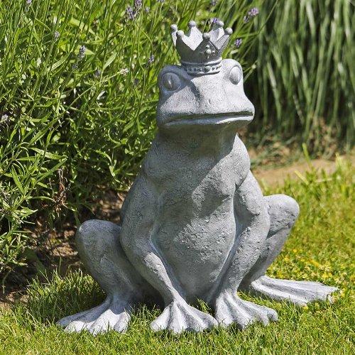 Garten-Deko Figur Froschkönig aus Poly · grau gewischt Höhe 34 cm · Breite 34 cm outdoorgeeignet