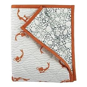 Argington Organic Crib Quilt, Fish And Pebbles Print