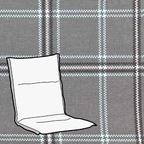 0309407-8766 Auflage für Stapelsessel 110 x 48 x 6 cm, integriertes Kopfpolster, grau / grün kariert