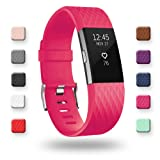 POY Replacement Bands Compatible for Fitbit Charge 2, Classic & Special Edition Sport Wristbands, Rose Small, 1PC