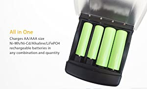 SunJack USB Battery Charger for Rechargeable AA/AAA Size Ni-Mh/Ni-Cd/Alkaline/LiFePO4 Batteries (Tamaño: Ni-Mh/Ni-Cd/Alkaline/LiFePO4)