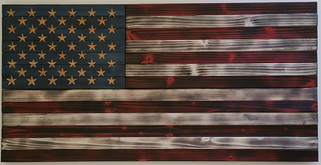 rustic wood american flag wall hanging patriotic art. Black Bedroom Furniture Sets. Home Design Ideas
