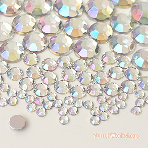 110pcs Mixed Size 3mm, 5mm, 8mm,10mm Acrylic Flatback Rhinestones Scrapbooking Nail Craft - Iridescent (Clear AB / Crystal AB) (Mixed Size Flatback Rhinestones compare prices)