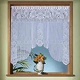 Gardinen, Vorhang, hochwertiger Jacquard-Fadenstore als Fensterbild mit Stangendurchzug, Farbe Weiß, Höhe 105cm x Breite 105cm für Fensterbreite 85 - 100cm