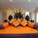SNEHKRITI 100% Cotton Traditional Mustard Elephant Patch Diwan Set with 5 Cushions Covers and 2 Boster Covers