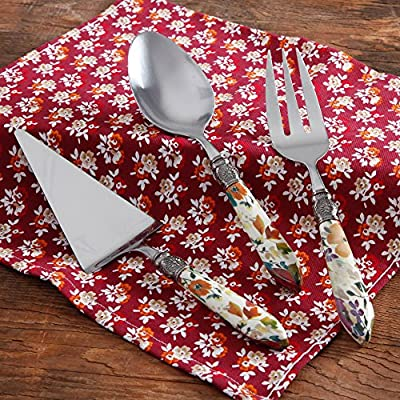 Pioneer Woman Floral Hostess Chef Stainless Steel Utensil Set, 3-Piece Including Serving Spoon, Fork and Pie Server