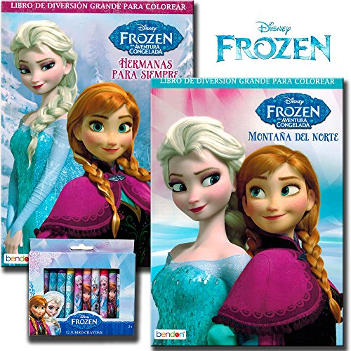Disney Frozen Coloring Book Set With Crayons (2 Books - International Edition) - 1