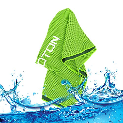 OMOTON High-tech Cooling Towel for Instant Relief-Soft Breathable Mesh Yoga Towel-Keep Cool for Running Biking Hiking and all Other Sports, Green