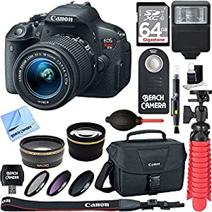 Canon EOS Rebel T5i SLR Digital Camera + EF-S 18-55mm IS STM Lens Kit + Accessory Bundle 64GB SDXC Memory + DSLR Photo Bag + Wide Angle Lens + 2x Telephoto Lens + Flash + Remote + Tripod & More