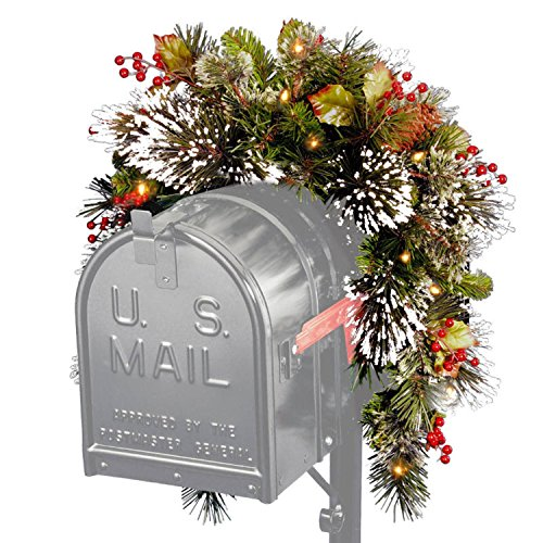 3-Pre-Lit-Battery-Operated-Artificial-Pine-with-Berries-Christmas-Mailbox-Swag-Warm-Clear-LED-Lights