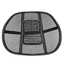 Back Lumbar Support Mesh Ventilate Cushion Black Massage Waist Cushion - Car Seat/Office