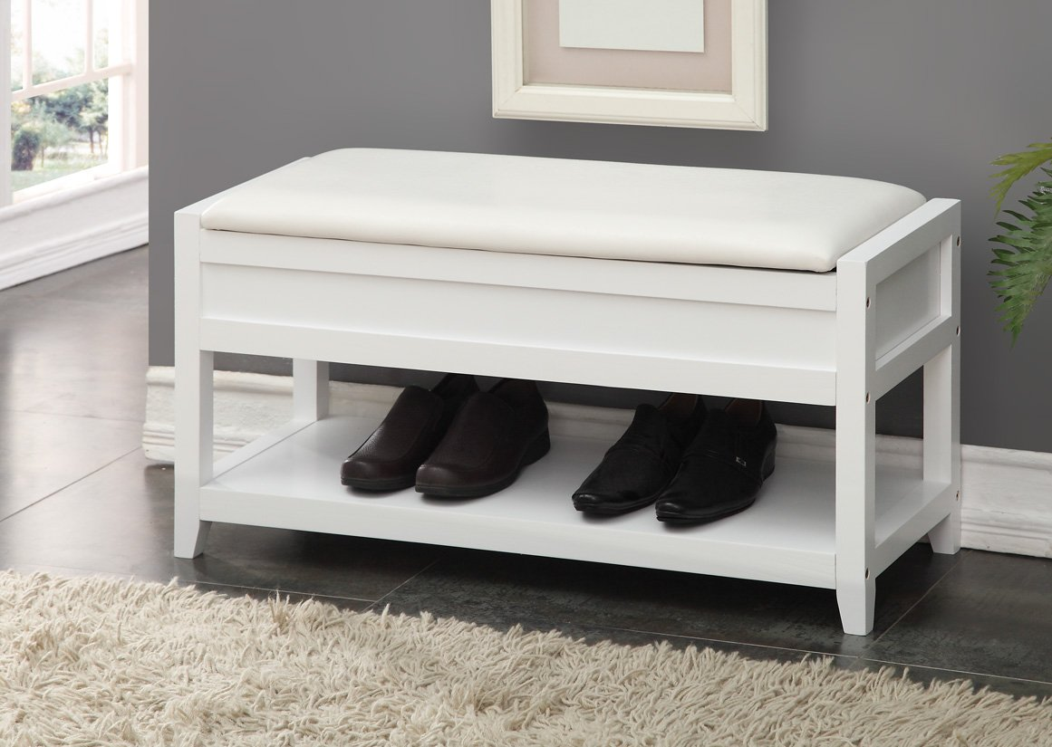 White Bonded Leather Entryway Shoe Bench Shelf Storage Organizer