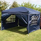 Andes 3x3m Navy Blue Pop-Up Waterproof Garden Gazebo With Sides And Stability Bar