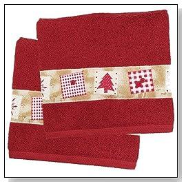 Red Christmas Tree Holiday Bath Towel