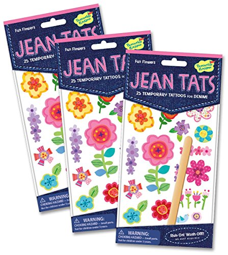Peaceable Kingdom Jean Tats Spring Flowers Temporary Tattoos for Fabric - 3 Pack - 1