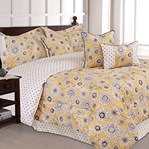 Yellow Gold Daisy Flowered Girls 7 Piece Full Comforter Set Pillows
