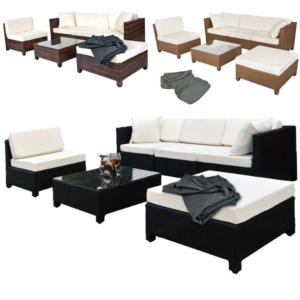 TecTake Hochwertige Aluminium Luxus Lounge mit 2 Bezugssets Poly-Rattan Sitzgruppe Sofa Rattanmöbel Gartenmöbel mit Edelstahlschrauben - diverse Farben - (Schwarz)