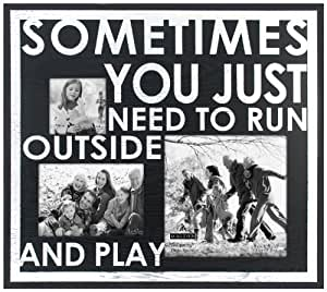 Malden Modern Graphics 3-Opening Wood Picture Frame, Run Outside and Play, Black/White