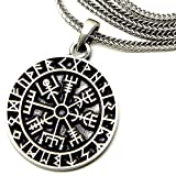 Guidepost Compass Vegvisir Talisman Viking Protection Pewter Pendant Stainless Steel Necklace