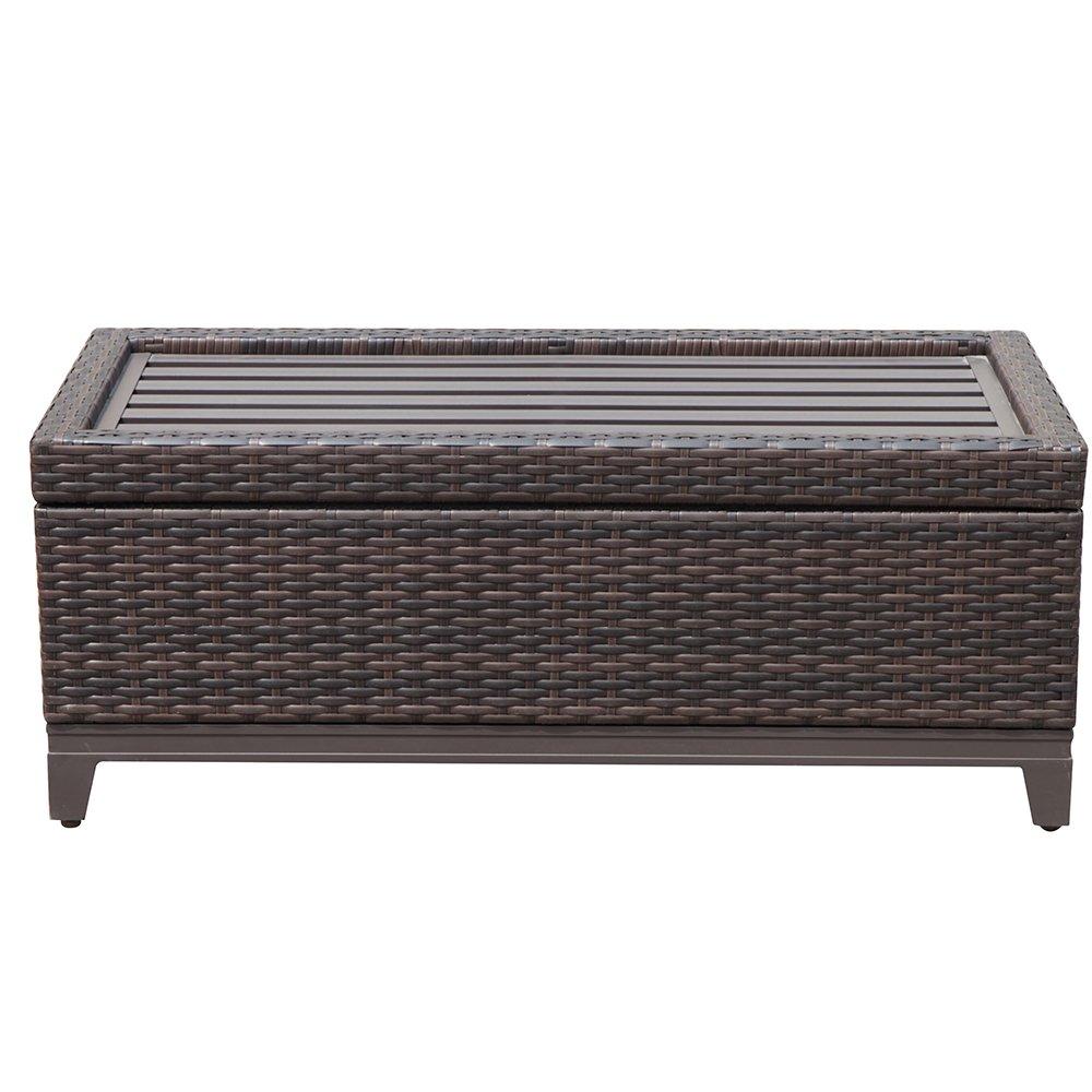 PATIOROMA Outdoor Patio Wicker Storage Deck Box & Garden Bench Deck Box with White Seat Cushion, Espresso Brown,Aluminum Frame