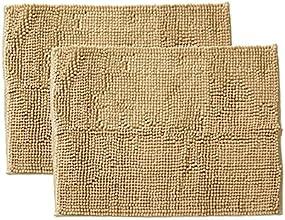 イケヒコ バスマット 洗える 無地 吸水 速乾 マイクロファイバー 『さらり美人』 ベージュ 2枚組 約35×50cm ♯3402350