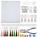 Terokota Shrink Plastic Sheet 152PCS Shrinky Art Film Paper Kits-10Pack Heat Shrink Sheets, 3MM Hole Punch, Keychains, Tassels, Ear Hooks, Claps for Kids Creative Craft & Jewelry Making-F (Tamaño: 152Pcs-20×30cm/W×H-Fine Grinding)