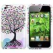 Housse Coque Etui Snap-in Rigide Caoutchouc Protection Case Pour Apple Ipod Touch 4 4G, Blanc Amour coeurs arbres