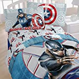 4pc Captain America Twin Bedding Set Marvel Comics Winter Soldier Comforter and Sheets