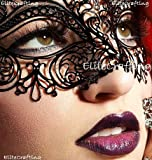 Luxurious Venetian Black Masquerade Mask - Intricate Laser Cut Design Made of Light Metal with Diamonds by Masquerade Fashion