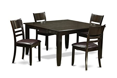 East West Furniture PFLY5-CAP-LC 5-Piece Dining Table Set, Cappuccino Finish