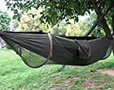 Camping Hammock,Topist Hammock Tent Pop Up Mosquito Net Ultralight Durable Parachute Fabric Hammock for Outdoor,Beach, Hiking, Traveling, Backyard, Backpacking (Black)