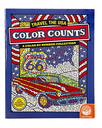 "MindWare - Color Counts Travel the USA - 11 Unique Puzzles With Up To 10 Color Directions - Teaches Creativity and Fosters Imagination - Includes 10"" x 15"" Fold-Out Designs - 1"