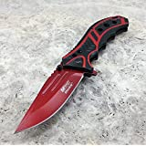 M-tech 8 Inch Spring Assisted Blood Red Folding Pocket Knife Tactical Combat