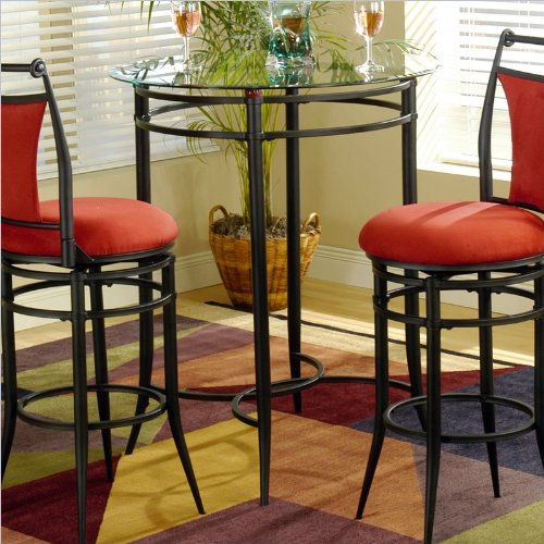 Universal Bistro Table with Glass Top - Black