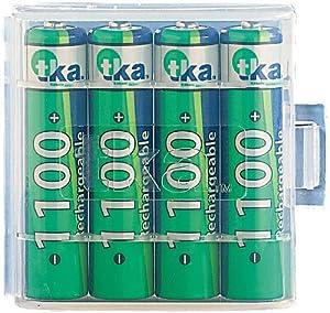 tka 1100 mAh NiMH-Akkus AAA Micro 4 Stück + Batteriebox