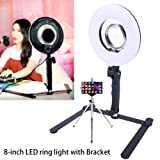 8-inch 24W Table Top Dimmable LED Ring Light with Desktop Bracket Photo 5500K Video Lights Lamps for Portrait,Photography and YouTube Vine Video Shooting