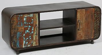 Meuble TV en acier et bois de récupération avec 2 portes - Dim : H 530 x L 1300 x l 400 mm -PEGANE-