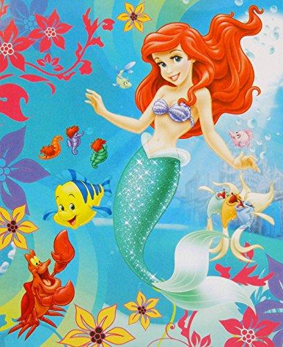 "Disney Princess Ariel ""Under The Sea"" Premium Plush Raschel Twin Blanket 78"" X 59"" front-448639"